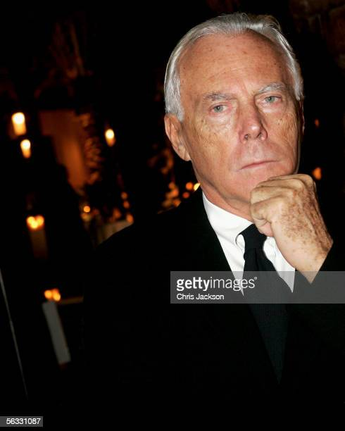 Designer and businessman Giorgio Armani attends a drinks reception on the eve of Modern Luxury at the Park Hyatt Hotel on December 4 2005 in Dubai...