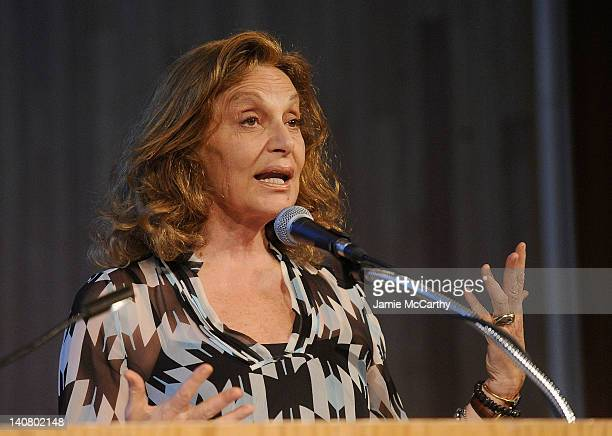 Designer and CFDA President Diane Von Furstenberg speaks at The CFDA at 50 The Presidents Speak at The Fashion Institute of Technology on March 6...