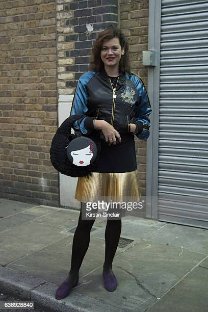 Designer and fashion model Jasmine Guinness wears a Lulu Guinness bag on day 2 of London Womens Fashion Week Spring/Summer 2016 on September 17 2016...