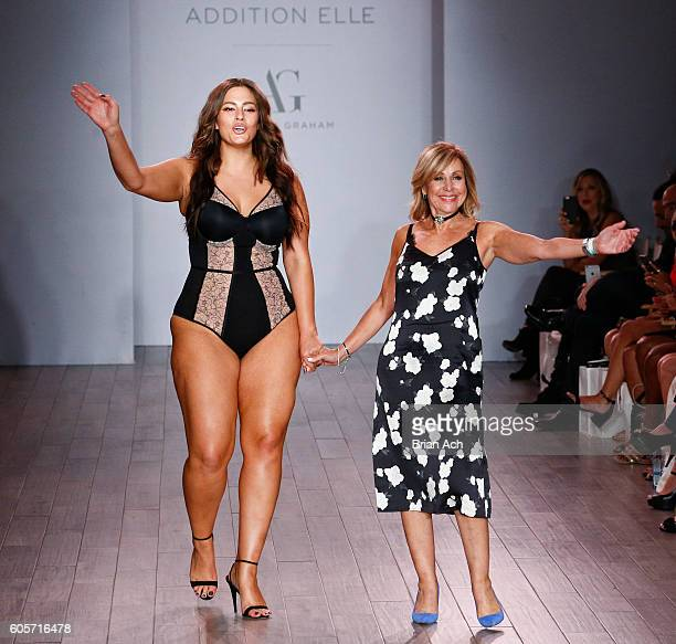 Designer and model Ashley Graham appears on the runway at the Addition Elle Presents Holiday 2016 RTW Ashley Graham Lingerie fashion show during...