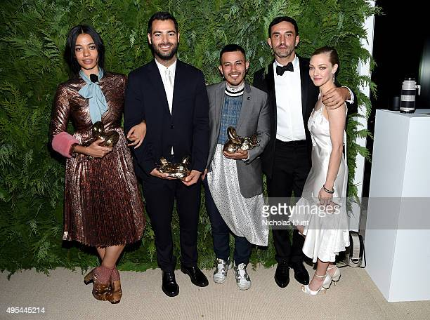 Designer and winner Aurora James of Brother Vellies designer and winner Jonathan Simkhai designer and winner Rio Uribe of Gypsy Sport designer and...
