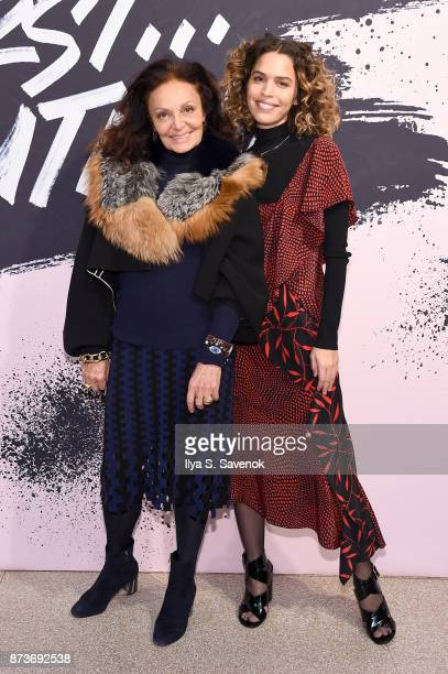 Designer and Woman of the Year 2005 Diane von Furstenberg and artist Cleo Wade pose during Glamour Celebrates 2017 Women Of The Year Live Summit at...