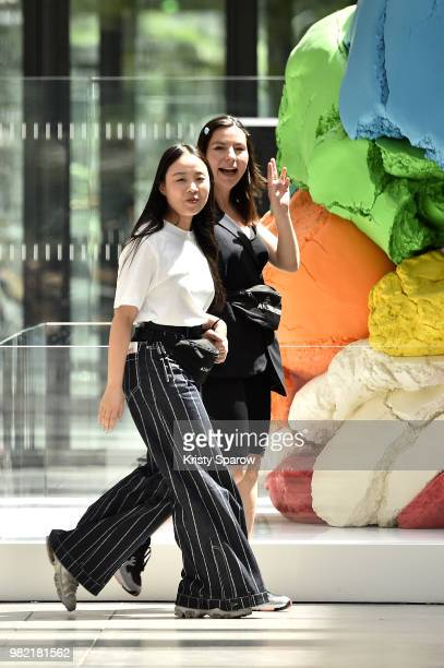 Designer Andrea Crews acknowledges the audience during the Andrea Crews Menswear Spring/Summer 2019 show as part of Paris Fashion Week on June 23...