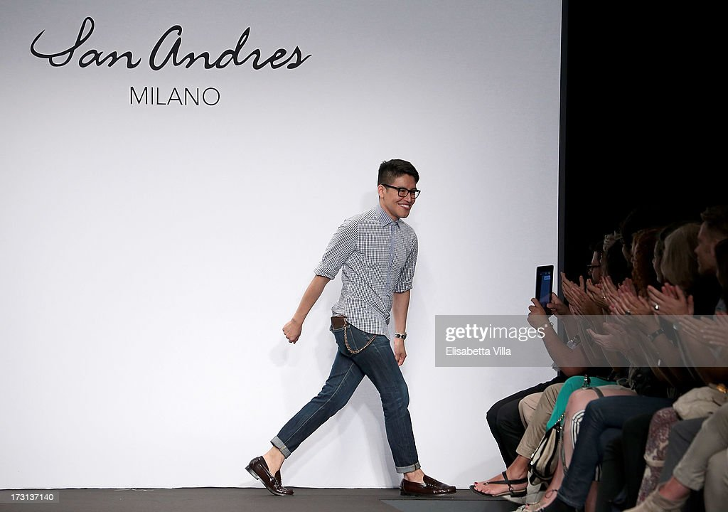 Designer Andres Caballero acknowledges the pubblic during San Andres Milano S/S 2014 Haute Couture collection fashion show as part of AltaRoma AltaModa Fashion Week at Santo Spirito In Sassia on July 8, 2013 in Rome, Italy.