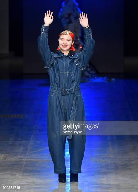 Designer Angel Chen on the runway of the her show during Milan Fashion Week Fall/Winter 2018/19 on February 21 2018 in Milan Italy