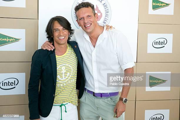 Designer Angel Ortega and TV presenter Joaquin Prat attend MFShow Men on July 16 2014 in Madrid Spain
