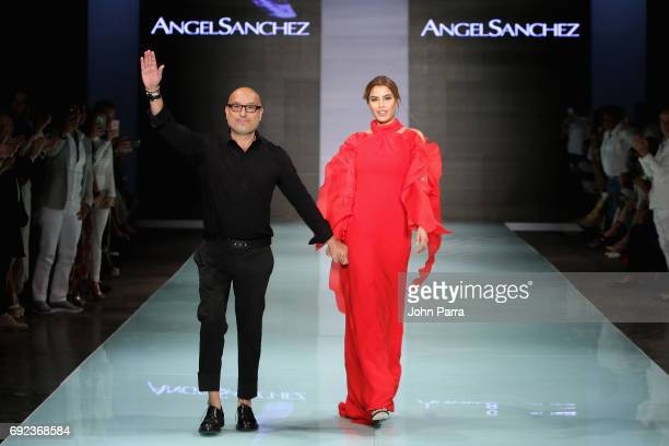 Designer Angel Sanchez and Former Miss Colombia Ariadna Gutierres walks the runway at the Angel Sanchez Fashion Show at Miami Fashion Week at Ice...