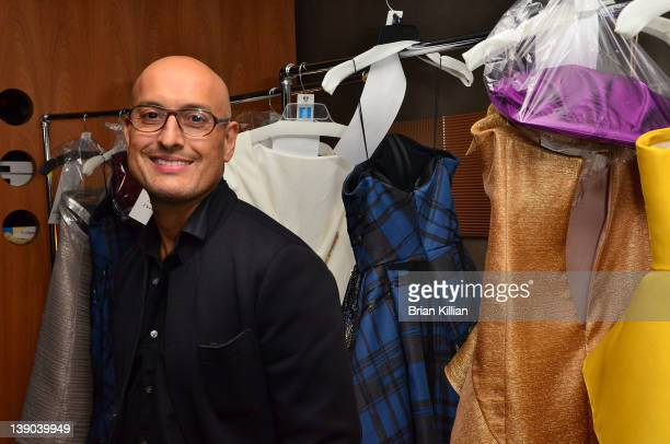 Designer Angel Sanchez attends the Angel Sanchez Fall 2012 fashion show during Mercedes-Benz Fashion Week at the Hotel Americano on February 15, 2012...
