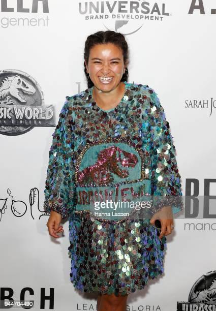 Designer Angela Lowe arrives ahead of the Jurassic World Fallen Kingdom Runway Show on April 11 2018 in Sydney Australia