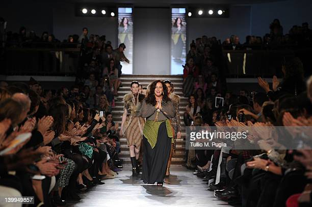 Designer Angela Missoni acknowledges the applause after the Missoni Autumn/Winter 2012/2013 fashion show as part of Milan Womenswear Fashion Week on...
