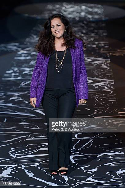 Designer Angela Missoni walks the runway at the Missoni show during the Milan Fashion Week Autumn/Winter 2015 on March 1 2015 in Milan Italy