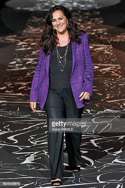 Designer Angela Missoni walks the runway at the Missoni show during the Milan Fashion Week Autumn/Winter 2015 on March 1, 2015 in Milan, Italy.