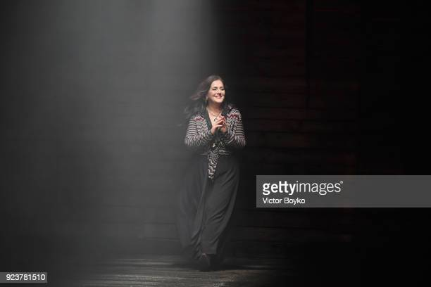 Designer Angela Missoni walks the runway at the Missoni show during Milan Fashion Week Fall/Winter 2018/19 on February 24, 2018 in Milan, Italy.