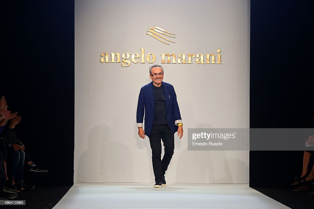 Designer Angelo Marani acknowledges the applause of the audience after the Angelo Marani fashion show as part of Milan Fashion Week Spring/Summer 2016 on September 28, 2015 in Milan, Italy.