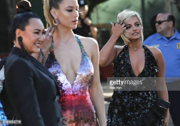 Designer Angelys Balek, Hannah Ferguson and Bebe Rexha arrive for 2019 CFDA Fashion Awards at Brooklyn Museum on June 03, 2019 in New York City.