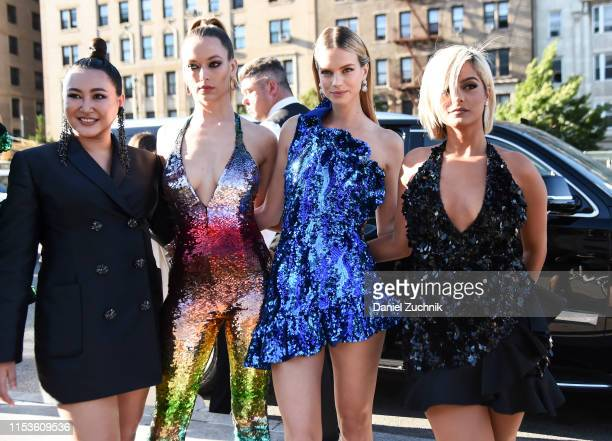 Designer Angelys Balek, Hannah Ferguson, Nadine Leopold and Bebe Rexha are seen outside the 2019 CFDA Fashion Awards at the Brooklyn Museum on June...