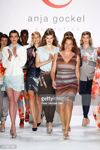 Designer Anja Gockel and a group of models walk the runway at the Anja Gockel show during the MercedesBenz Fashion Week Berlin Spring/Summer 2016 at...