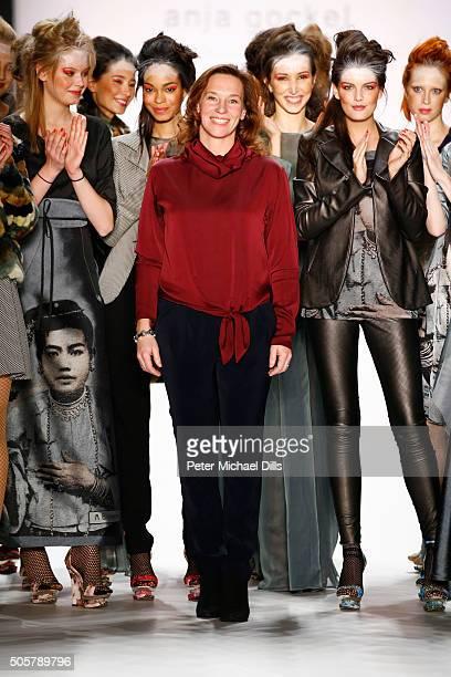 Designer Anja Gockel and a group of models walk the runway at the Anja Gockel show during the MercedesBenz Fashion Week Berlin Autumn/Winter 2016 at...