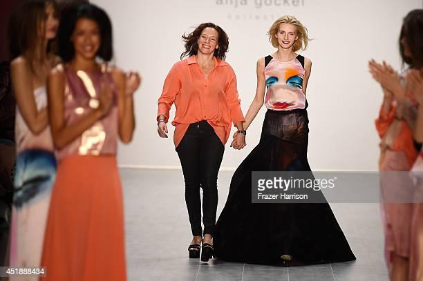 Designer Anja Gockel and models walk the runway at the Anja Gockel show during the MercedesBenz Fashion Week Spring/Summer 2015 at Erika Hess...