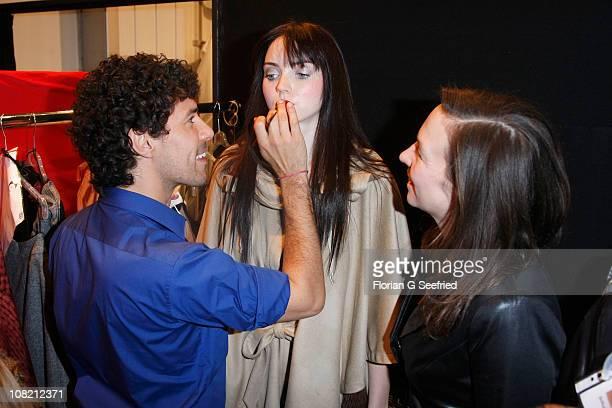 Designer Anja Gockel makeup artist Boris Entrup and model Lily Cole are seen backstage at the Anja Gockel Show during the Mercedes Benz Fashion Week...