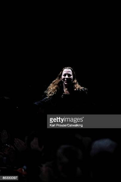 Designer Ann Demeulemeester walks the runway at the Ann Demeulemeester ReadytoWear A/W 2009 fashion show during Paris Fashion Week at Couvent des...