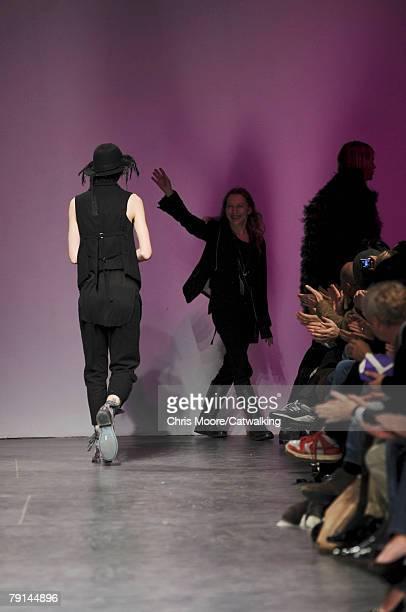 Designer Ann Demeulemeester walks the runway during the Ann Demeulemeester Menswear fashion show part of Paris Fashion Week Fall/Winter 2008/2009 on...