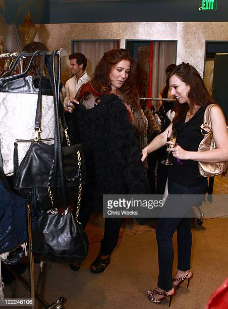 Designer Anna Corinna and an unidentified guest attend the Foley Corinna Melrose Avenue Event With Poshglamcom at Foley Corinna on June 9 2010 in Los...