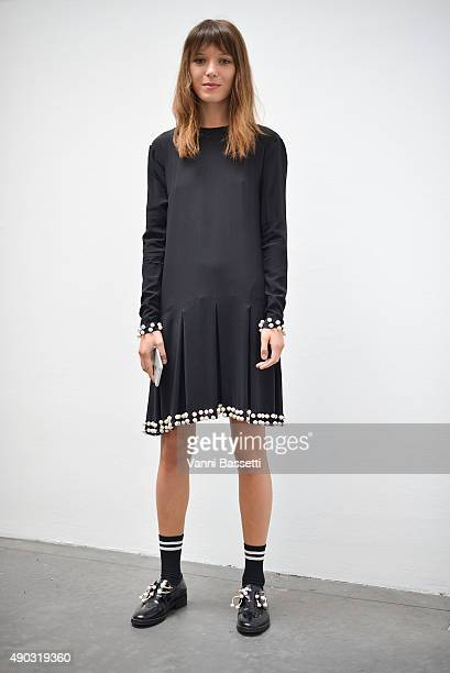 Designer Anna K poses wearing an Anna K dress after the Marni show during the Milan Fashion Week Spring/Summer 2016 on September 27 2015 in Milan...