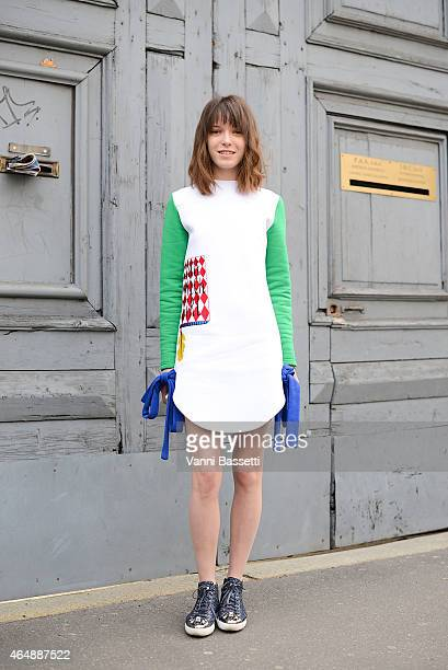 Designer Anna K poses wearing an Anna K dress on March 1 2015 in Milan Italy