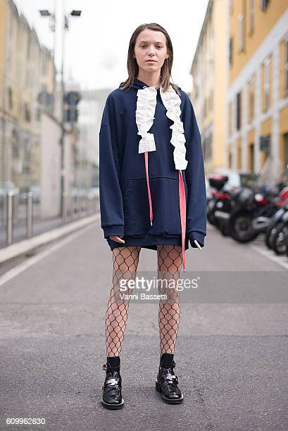 Designer Anna K poses wearing Anna K after the Diesel Black Gold show during Milan Fashion Week Spring/Summer 2017 on September 23 2016 in Milan Italy