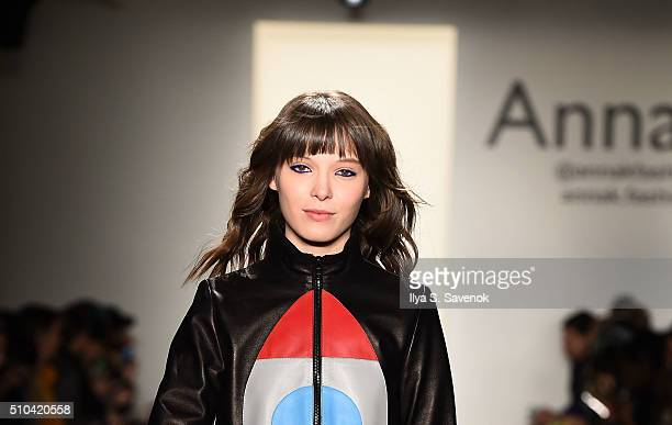 Designer Anna Karenina walks the runway at the Anna K fashion show during Fall 2016 MADE Fashion Week at Milk Studios on February 15 2016 in New York...