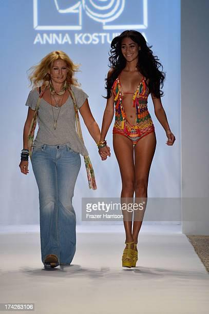 Designer Anna Kosturova walks the runway at the Anna Kosturova show during MercedesBenz Fashion Week Swim 2014 at Cabana Grande at the Raleigh on...