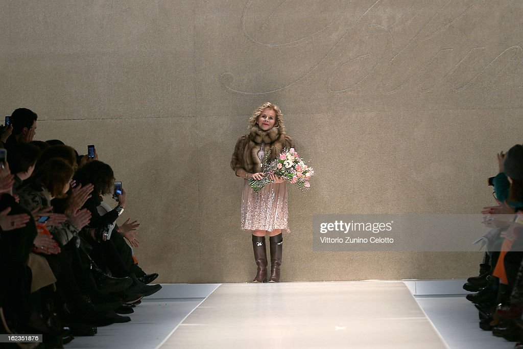 Designer Anna Molinari acknowledges the applauses after the Blumarine fashion show during Milan Fashion Week Womenswear Fall/Winter 2013/14 on February 22, 2013 in Milan, Italy.