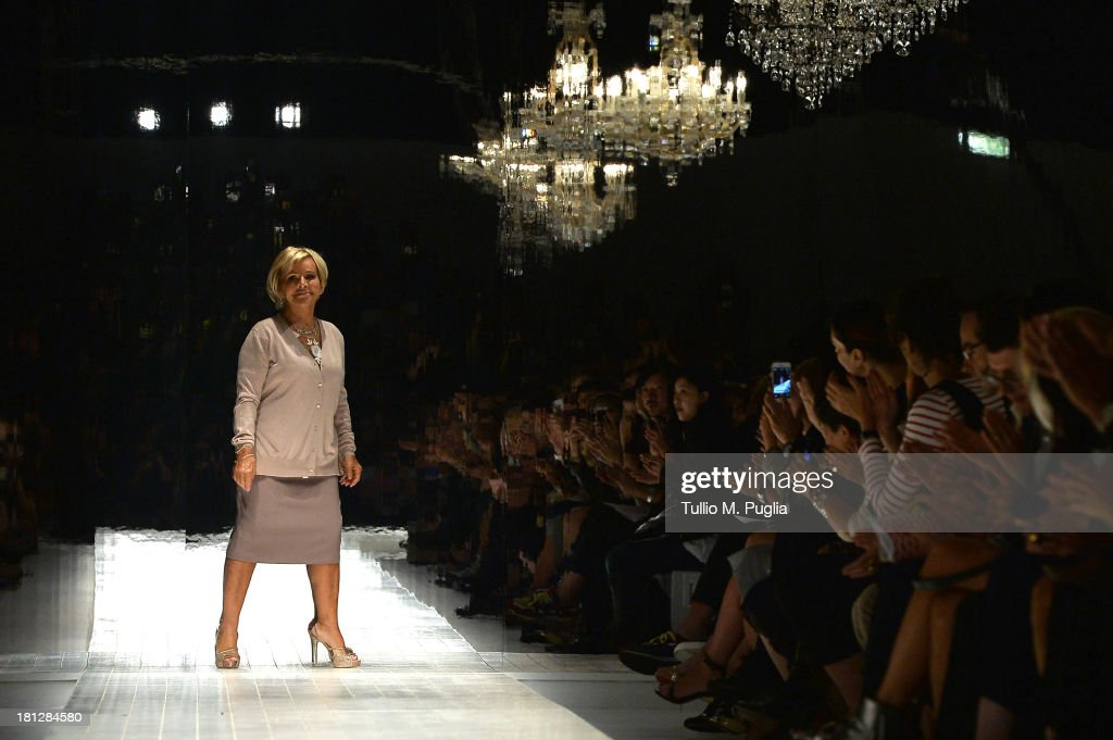 Designer Anna Molinari acknowledges the audience at the end of the Blumarine show as a part of Milan Fashion Week Womenswear Spring/Summer 2014 on September 20, 2013 in Milan, Italy.
