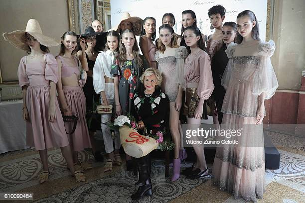 Designer Anna Molinari poses with the models backstage after the Blumarine show during Milan Fashion Week Spring/Summer 2017 on September 24 2016 in...