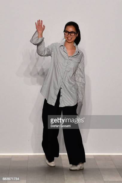 Designer Anna Quan thanks the audience following the ANNA QUAN show at MercedesBenz Fashion Week Resort 18 Collections at Carriageworks on May 17...