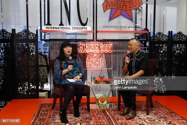 Designer Anna Sui and Joe Zee attend Macy's celebration of the launch of Anna Sui x INC at Macy's Herald Square on September 14 2017 in New York City