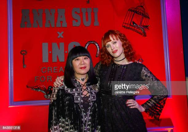 Designer Anna Sui and Musician Karen Elson attend Anna Sui x INC International Concepts Launch Party at Heath at the McKittrick Hotel on September 6...