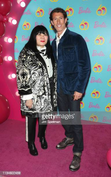 Designer Anna Sui and president and COO of Mattel Richard Dickson attend the Barbie 60th Anniversary Celebration at 505 Broadway on March 08 2019 in...
