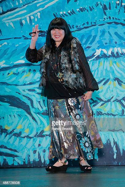 Designer Anna Sui greets the audience the Anna Sui Runway Spring 2016 New York Fashion Week The Shows at The Arc Skylight at Moynihan Station on...