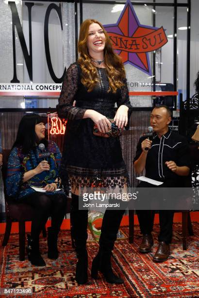 Designer Anna Sui Joe Zee and a model attend Macy's celebration of the launch of Anna Sui x INC at Macy's Herald Square on September 14 2017 in New...