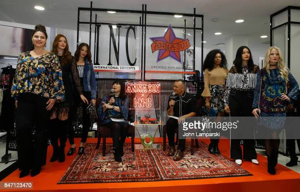 Designer Anna Sui Joe Zee and models attend Macy's celebration of the launch of Anna Sui x INC at Macy's Herald Square on September 14 2017 in New...