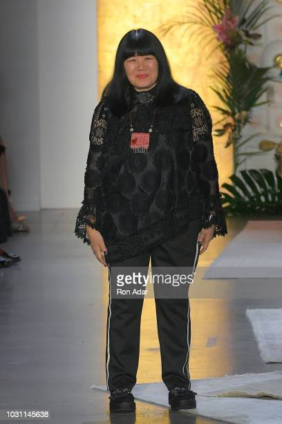 Designer Anna Sui seen on the runway following her show during New York Fashion Week The Shows at Gallery I at Spring Studios on September 10 2018 in...