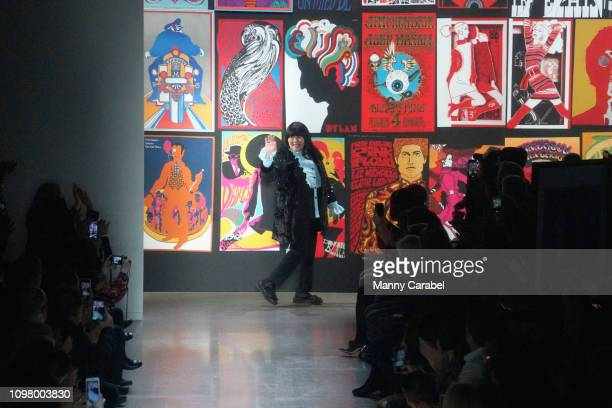 Designer Anna Sui takes a bow after the Anna Sui runway show in Gallery I of Spring Studios during New York Fashion Week: The Shows at Spring Studios...