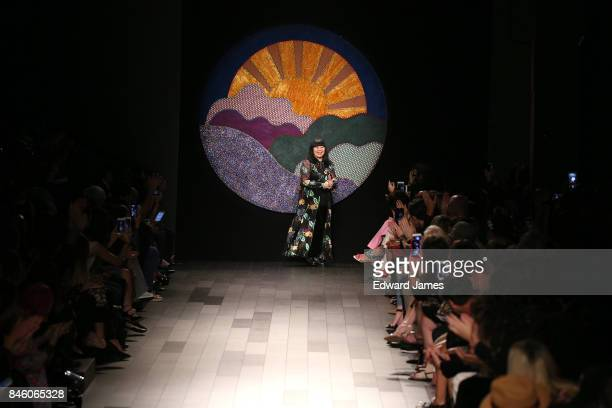 Designer Anna Sui walks the runway at the Anna Sui Spring/Summer 2018 fashion show during New York fashion week on September 11 2017 in New York City