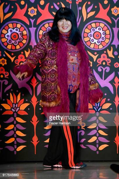 Designer Anna Sui walks the runway for Anna Sui during New York Fashion Week The Shows at Gallery I at Spring Studios on February 12 2018 in New York...