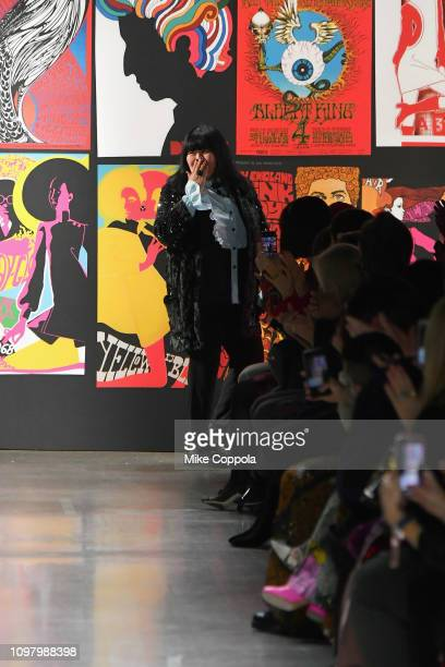 Designer Anna Sui walks the runway for the Anna Sui fashion show during New York Fashion Week The Shows at Gallery I at Spring Studios on February 11...