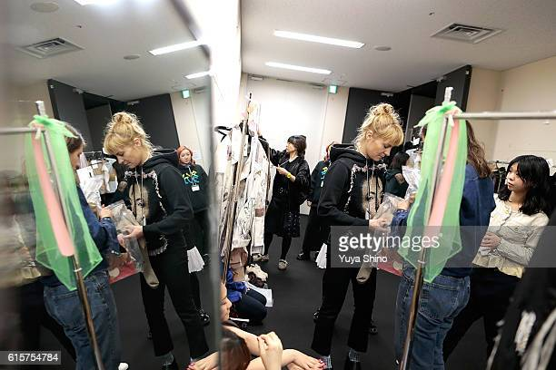 Designer Anne Sofie Madsen gets ready backstage ahead of the AnneSofie Madsen show as part of Amazon Fashion Week TOKYO 2017 S/S at Shibuya Hikarie...