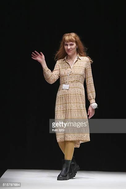 Designer Anne Sofie Madsen greets the crowd on the runway during the Anne Sofie Madsen show as a part of Mercedes Benz Fashion Week TOKYO A/W...