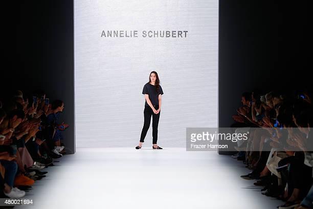 Designer Annelie Schubert is seen on the runway at the Annelie Schubert presented by MercedesBenz ELLE show during the MercedesBenz Fashion Week...